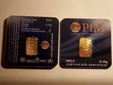 Goldbarren 0,10g Gramm 999,9 Fein Gold Barren mit PIM Zertifikat