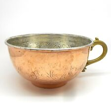 Copper Shaving Bowl  Mug  Cup for Shaving Brush and Safety Razor Flower pattern