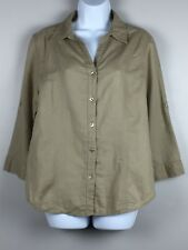 FRESH PRODUCE Women's Blouse Linen Cotton 3/4 Tab Sleeves Shirt Top Khaki Size L