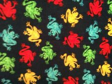 """Colorful frog fleece fabric on blue, 60""""w, sold BTY"""
