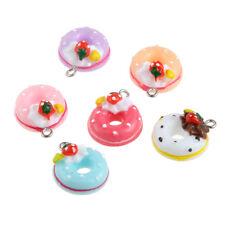 10PC Multicolor Resin 3D Doughnut&Bread&Cake Charm Pendant Fit DIY Necklace