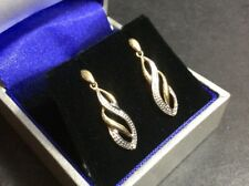 Vintage 9Ct Gold Drop Earrings w/Diamond HM: 9Ct DIA.