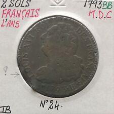 2 SOLS - FRANCAIS - LOUIS XVI (L An 5) 1793 BB - Pièce de Monnaie en MDC // TB