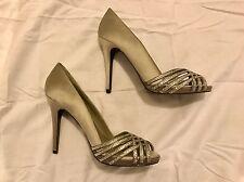 Ralph Lauren Silver Rhinestone Satin Peep Toe Heels Womens Sz 7.5 M