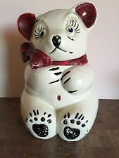 """ANTIQUE BEAR COOKIE JAR WHITE WITH RED AND BLACK 10 1/2"""""""