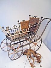 ANTIQUE VICTORIAN BALL & STICK WOOD DOLL CARRIAGE BUGGY w/ SILK PILLOW, PARASOL