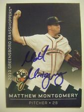 MATTHEW MONTGOMERY signed 2010 GREENSBORO baseball card AUTO UC-RIVERSIDE MATT
