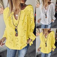Mode Femme 100% coton 0Creux Haut Floral Col V Manche Longues Tops Shirt plus