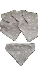 Slide on dog bandana size S in Pale grey with white  stars.  cotton canvas