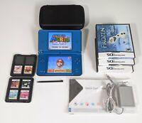 Nintendo DSi XL w/ 10 Games MARIO & Charger Bundle UTL-001 Blue Handheld System