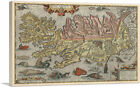 Map of Iceland with Sea Monsters 1585 Canvas Art Print by Abraham Ortelius
