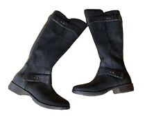 NEW UGG DAYLE $295 GENUINE LEATHER Suede Black Tall Riding Boot Boots sz 7