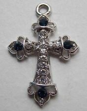 Titanium Cross Pendant Jewelry w/ Blue and Clear Rhinestones (No chain)
