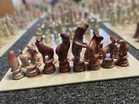 Hand Carved Soapstone African Animals Chess Set EXTRA Large **NO BOARD