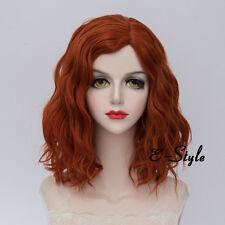 Fashion Orange 35CM Medium Curly Lolita Women Heat Resistant Cosplay Party Wig