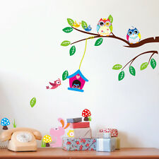 Owl Wall Stickers Animal Butterfly Vinyl Children Decor Decal Nursery Art Mural