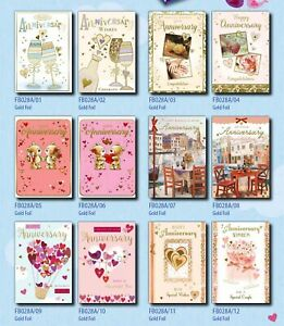 29p! ANNIVERSARY CARDS x36-FREE POST 6 DESIGNS x6, WRAPPED, FOILED, SUPERB