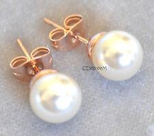 18k Rose Gold GP Pearl Earring Studs 4 Sensitive Ears Kids Medium 7mm