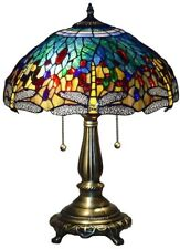 Tiffany Blue Dragonfly 23 in. Bronze Table Lamp Stained Glass Alloy Base New