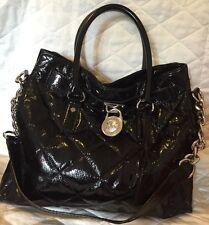Michael Kors Hamilton Black Quilted Patent Leather Tote Handbag MSRP $398.00