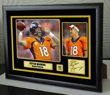 """Lienzo Enmarcado Peyton Manning Denver Broncos retrato firmado """"gran regalo"""""""
