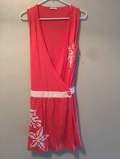 Cacharel Womens Dress S Orange Cream Embroidered Dress