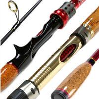 Carbon Fishing Rod Baitcasting Pole Casting Spinning Rod 2.1M Adjustable Size