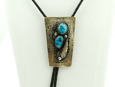 Bennett Pat. Pend. Old Pawn Sterling Silver Bolo Necktie with Turquoise Stones