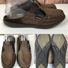 Womens CROCS 200034 Brown Textile-Canvas Flat Mules Shoes SIZE 7 M