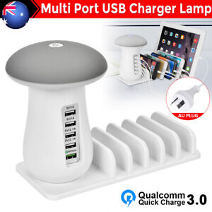 5 Multi Port USB Hub Quick Charger Mushroom Lamp Fast Charging Dock Station