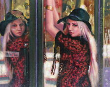 Original Oil Painting, Pretty Girl Reflected In Glass Door, Listed Artist Nr!