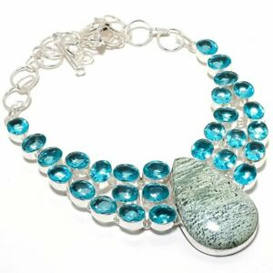 Banded Green Opal Blue Topaz Necklace Silver Ethnic Jewelry For Gift MQ-1748