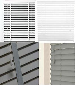 PVC Venetian Faux Wood Window Blind Wooden Venetian Blinds White / Grey new