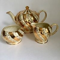Vintage Sadler England Gold Cream Swirl Teapot Sugar Set Floral Leaves Pattern