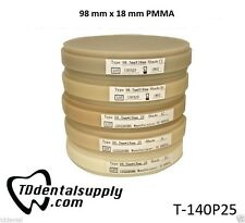 PMMA 98 mm x 14 mm, 18 mm, 20 mm Various Shades (3 Per Package)