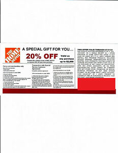 (1) 20% OFF HOME DEPOT Competitors Coupon  exp 07/31/21