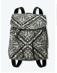 Victoria's Secret PINK Mini Drawstring Backpack Black & White Paisley NEW!