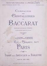 Cristal Baccarat, Rare catalogue 1903-1904 Articles de Toilette en PDF