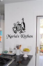 Personalized Kitchen Wine & Canisters Wall Sticker Wall Art Vinyl Kitchen Sign