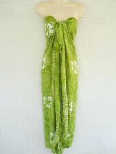 Handmade Sarong Pareo Luau Cruise Dress Beach Cover Up Floral Lime Green