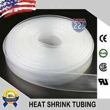 "50 FT. 50' Feet CLEAR 3/4"" 19mm Polyolefin 2:1 Heat Shrink Tubing Tube Cable US"