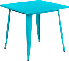 """31.5"""" Square Industrial Style Teal Blue Metal Indoor & Outdoor Restaurant Table"""