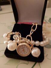 Ladies Fashion Watch Chains N Pearls Braclet