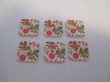 6 x 18mm Square Wooden Flat Buttons- Autumn Tones- 2  Holes  No.1445