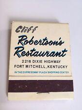 Cliff Robertson s Restaurant Front strike matchbook unstruck dixie highway KY