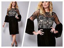 Kaleidoscope Size 20 Black Bell Sleeve Lace & Velvet Occasion Party DRESS £85
