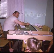 Dad Assembles Toy Tudor Electric Football Game Kid Watches Vtg 1960s Slide Photo