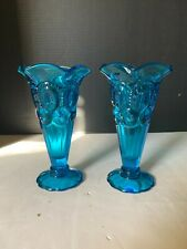 Mid Century Modern LE Smith Blue Glass Moon and Stars Bud Trumpet Vase A Pair