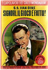 """Gialli Mondadori N°176 """"SIGNORI IL GIOCO E' FATTO"""" 1959"""
