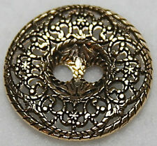 "3/4"" Metal Antique Gold Color Two Hole Angelica Button - Set of 3"